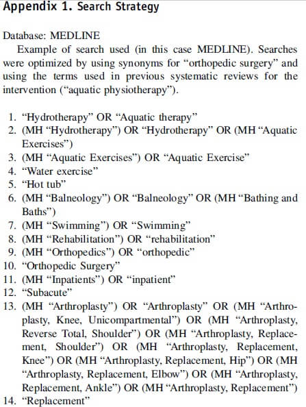 Appendix 1: Search strategy on aquatic physical therapy in orthopedic surgery.