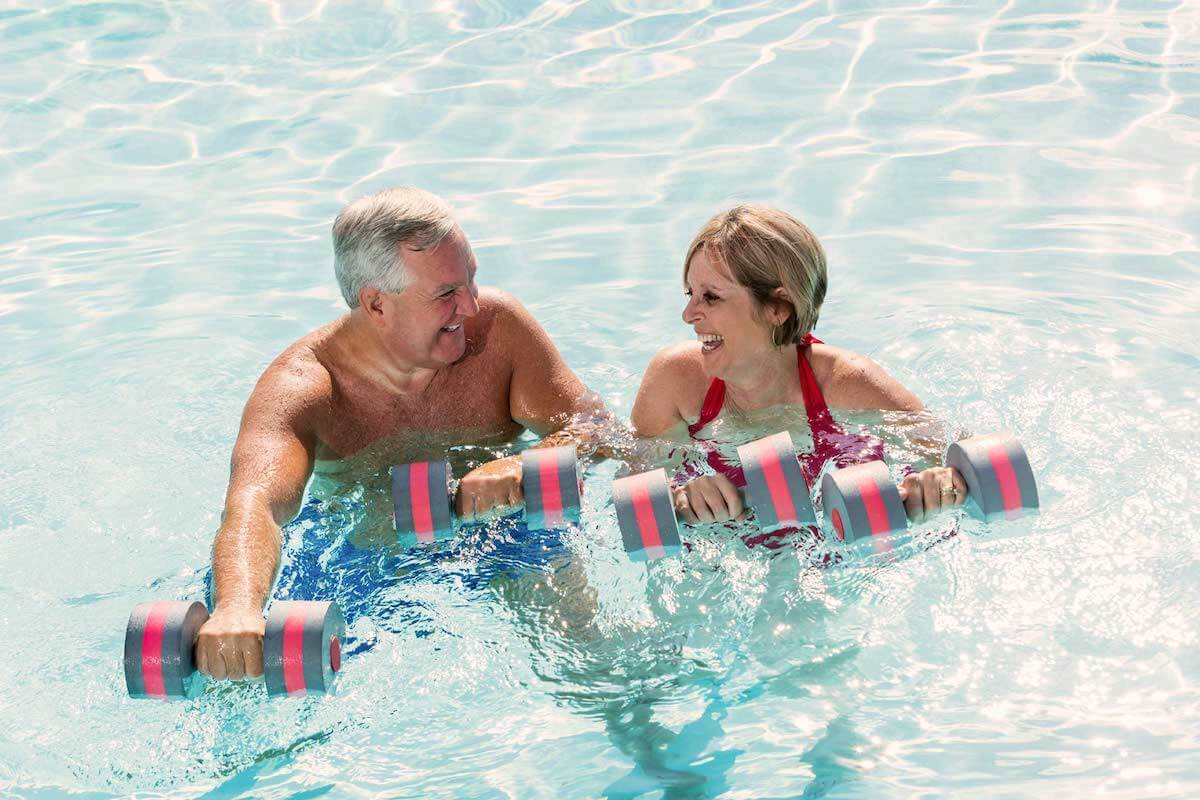 Exercises for diabetics in temperated pool.