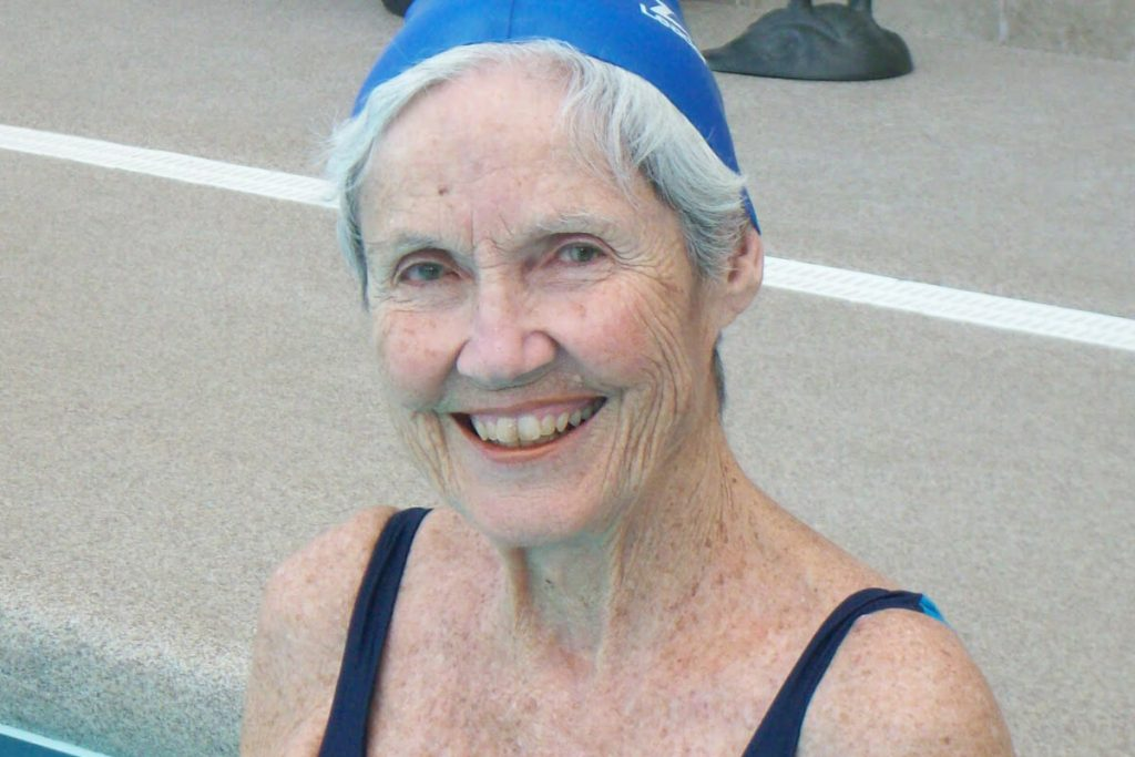 Woman with stable heart failure performs aquatic training.