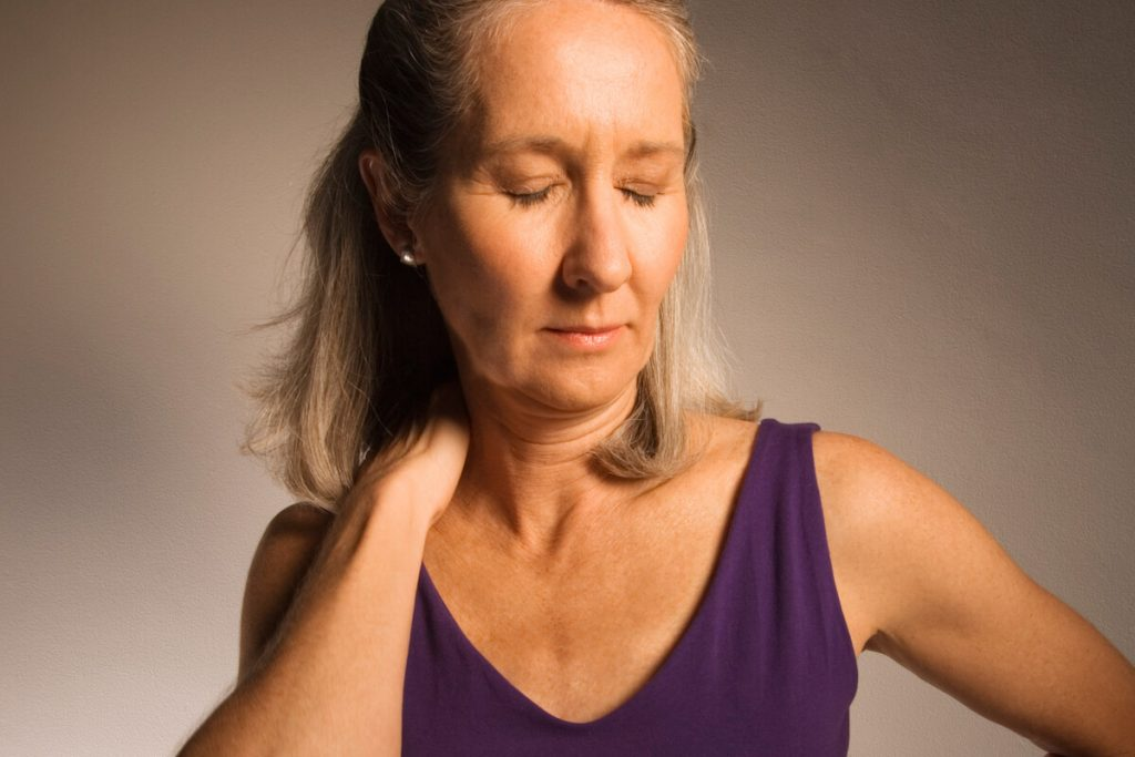 Woman with musculoskeletal conditions and neck pain.
