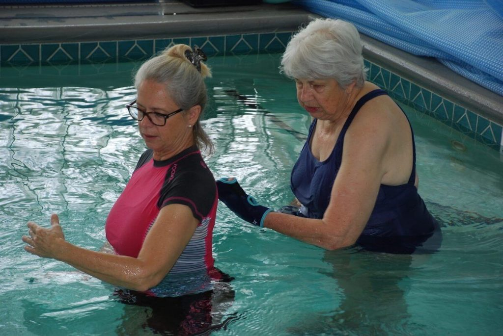 Women with Parkinson`s disease doing aquatic exercise.