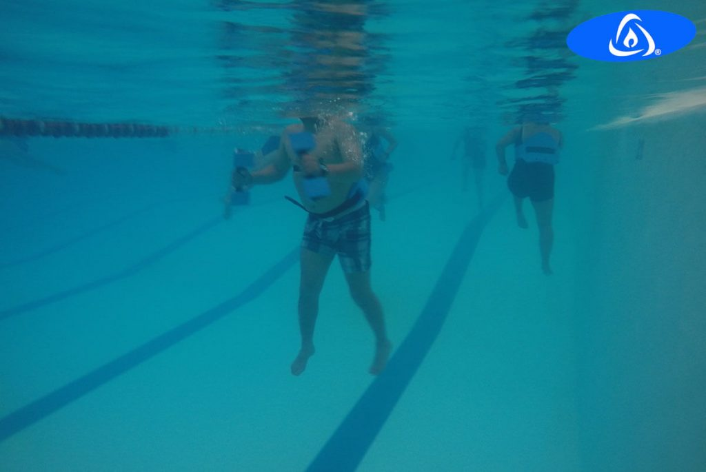 People with hip and knee arthroplasty doing Kaenz aquatic exercises in tempered pool.