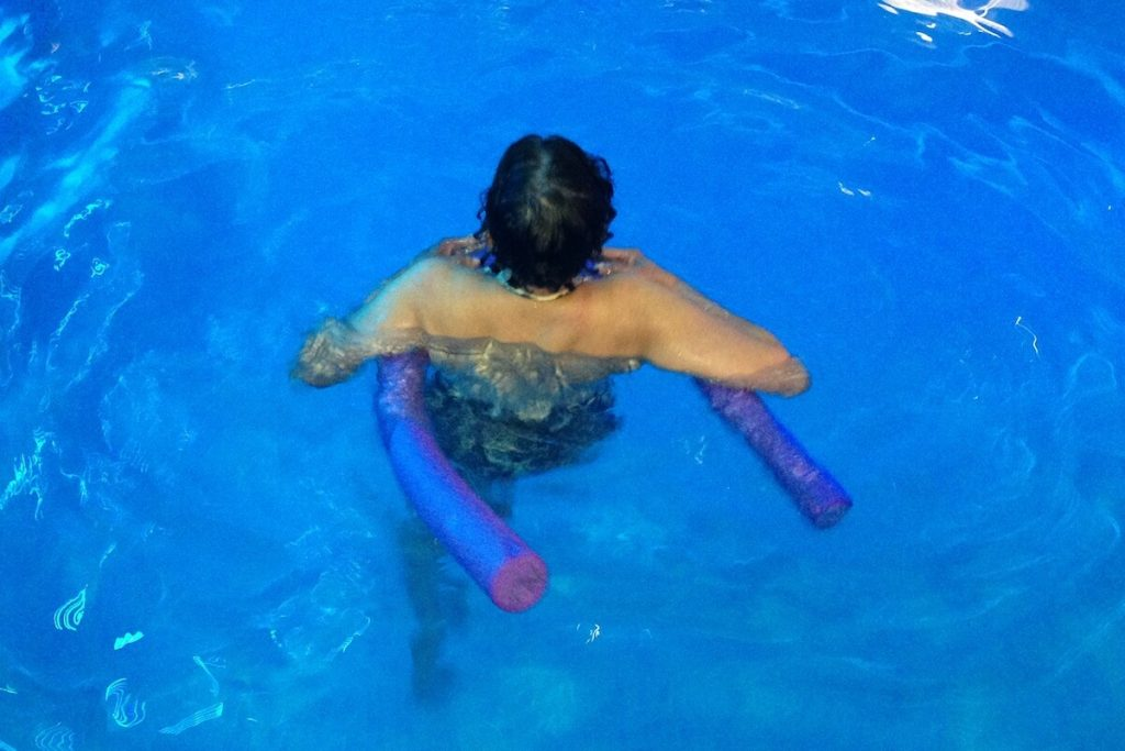 Studying surface electromyography water exercise.