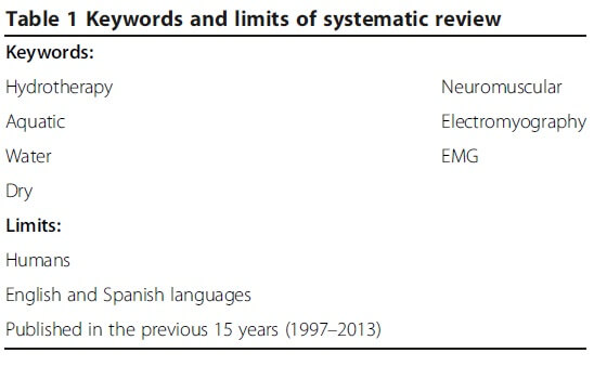 Table 1 Keywords and limits of systematic review.